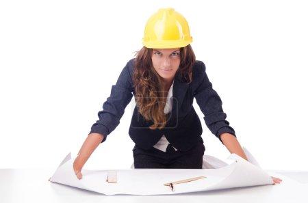 Photo pour Architecte femme avec dessins sur blanc - image libre de droit