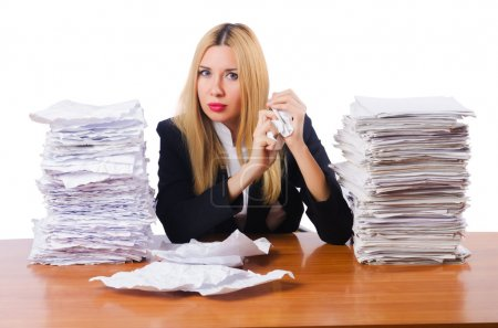 Photo pour Femme d'affaires avec beaucoup de papiers - image libre de droit