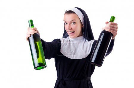 Nun with bottle of red wine...