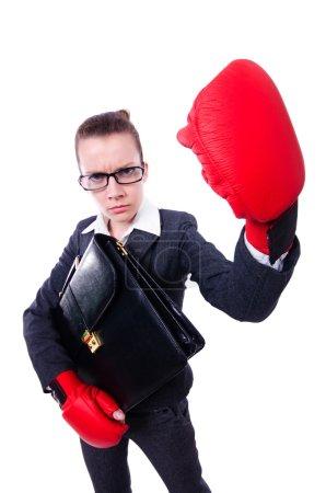 Photo pour Femme avec des gants de boxe sur blanc - image libre de droit