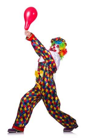 Photo pour Drôle de clown isolé sur le blanc - image libre de droit
