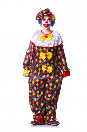 Photo for Clown in the costume isolated on white - Royalty Free Image