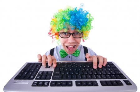 Funny guy with clown wig