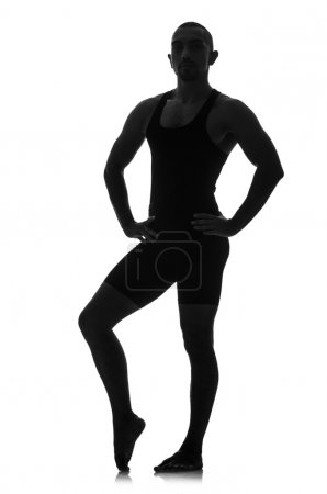 Photo for Silhouette of male dancer isolated on white - Royalty Free Image