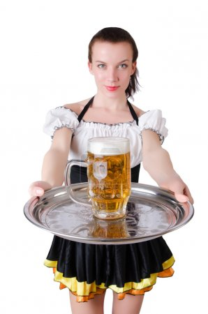 Young waitress with beer
