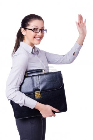 Photo pour Jeune femme d'affaires isolé sur blanc - image libre de droit