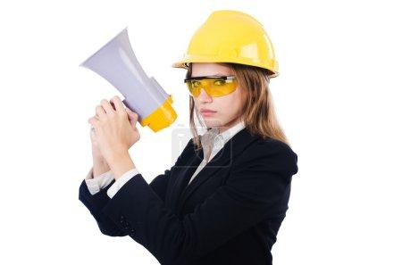 Photo pour Femme avec casque et haut-parleur sur blanc - image libre de droit