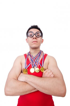 Funny wrestler with winners gold medals