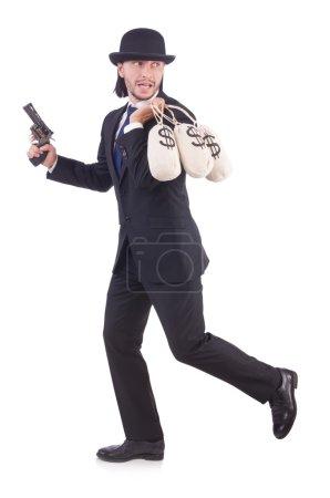 Photo pour Homme d'affaires criminel avec des sacs d'argent - image libre de droit