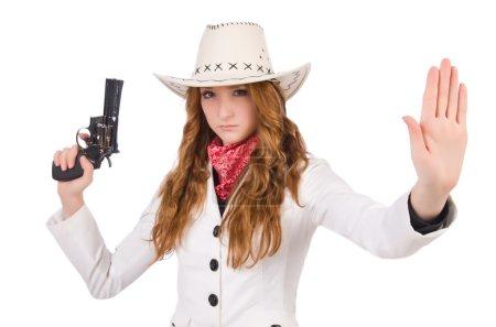 Photo pour Jeune cow-girl stop avec pistolet isolé sur blanc - image libre de droit