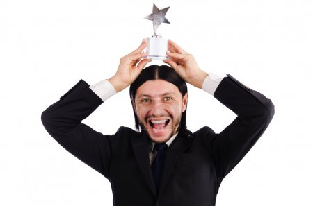 Photo for Businessman with star award isolated on white - Royalty Free Image