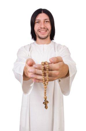 Photo pour Jeune prêtre isolé sur blanc - image libre de droit