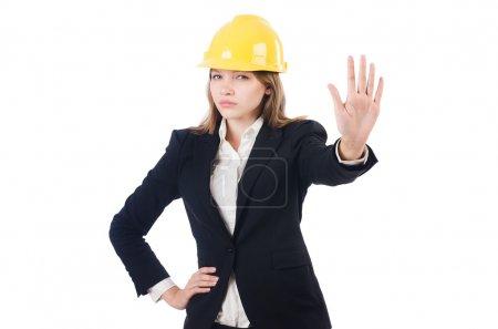 Photo pour Jolie femme d'affaires avec un casque isolé sur blanc - image libre de droit