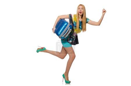 Photo pour Concept de vacances voyage avec des bagages sur blanc - image libre de droit
