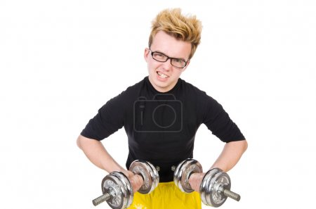 Photo for Funny guy with dumbbels on white - Royalty Free Image