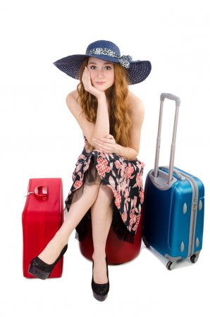 Photo for Travel vacation concept. woman with luggage on white - Royalty Free Image