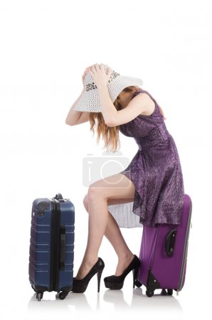 Photo for Travel vacation concept with luggage on white - Royalty Free Image