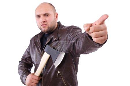 Photo pour Homme avec hache isolé sur blanc - image libre de droit