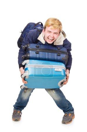 Photo pour Homme drôle avec des bagages sur blanc - image libre de droit