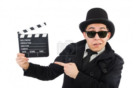 Man with movie clapper