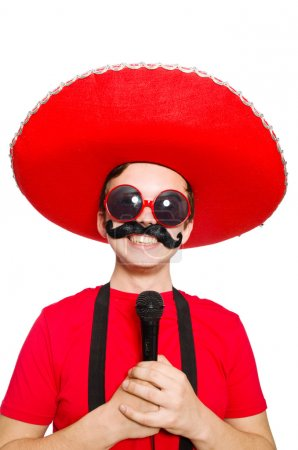 Photo for Funny mexican with mic isolated on the white - Royalty Free Image