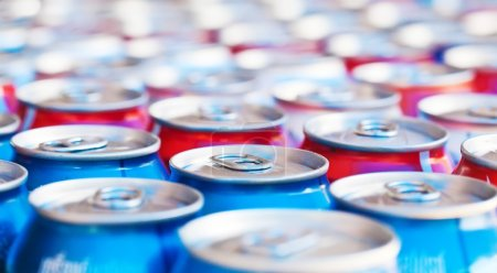 many cans with refreshing drinks