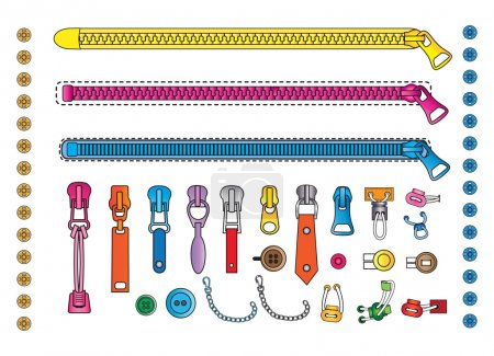 Zipper and accessories for clothes
