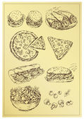 Hand drawing set of sandwichespizza and salad