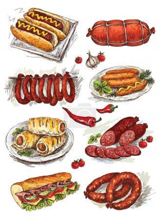 Set of hand drawing sausage...