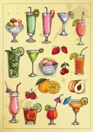 Illustration pour Jeu de queues d'alcool à dessiner à la main et fruits - image libre de droit