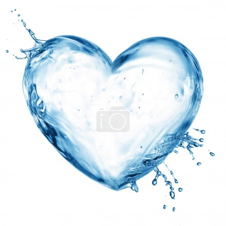 Photo for Heart from water splash with bubbles isolated on white - Royalty Free Image