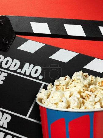 Clapper board and popcorn box