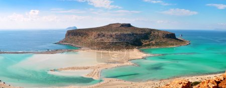 Beautiful Balosbeach with the Island Gramvousa on Crete, Greece