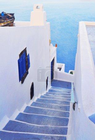 Steps and terrace on Santorini island