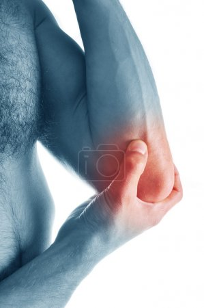 Pain in an elbow joint. Sports trauma