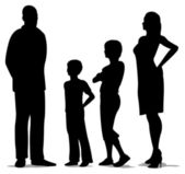 Family of four standing silhouette vector