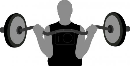 Gym man with barbell vector