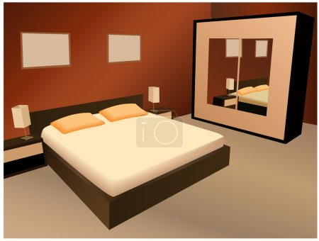 Illustration for Brown bedroom vector - Royalty Free Image