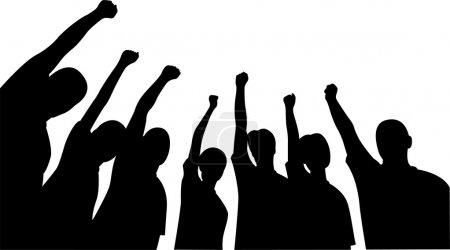 Group of friends upwards hands vector