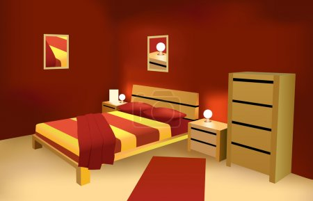 Illustration for Red modern bedroom vector - Royalty Free Image