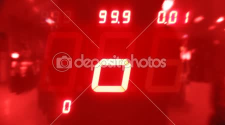 Colorful board on slot machine with flashing numbers