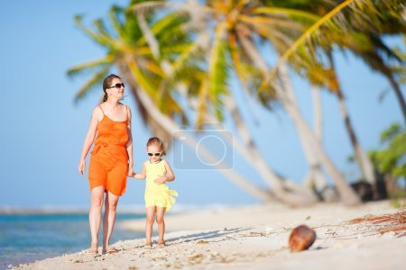 Mother and daughter on tropical vacation