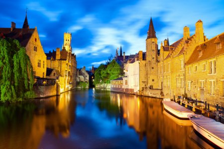 Famous view of Bruges at night