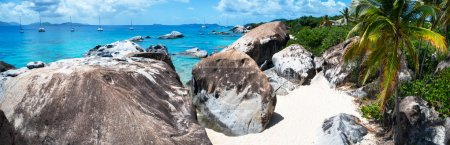 Photo for Panorama of a picture perfect beach with white sand, unique huge granite boulders, turquoise ocean water and blue sky at Virgin Gorda, British Virgin Islands in Caribbean - Royalty Free Image