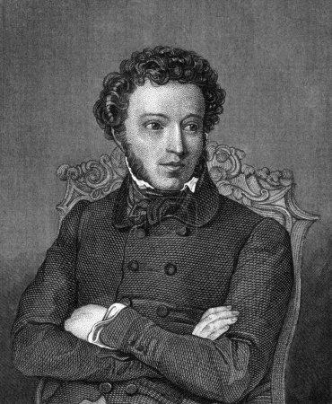 Photo pour Alexandre Pouchkine (1799-1837) sur la gravure de 1859. Un des plus grands poètes russes. Gravé par un artiste inconnu et publié dans Meyers Konversations-Lexikon, Ge - image libre de droit