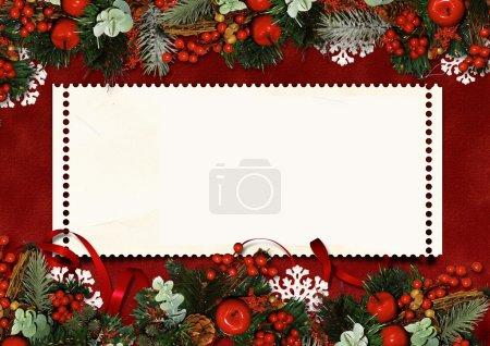 Photo pour Fond victorien avec carte postale de Noël, avec espace pour photo et texte. - image libre de droit