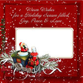 Christmas background with card and warm wishes