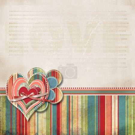Photo pour Rétro scrapbooking Valentine fond avec des cœurs et de la zone pour le texte - image libre de droit