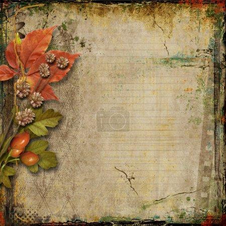 Photo pour Fond grunge avec cartes postales anciennes et de feuilles d'automne - image libre de droit