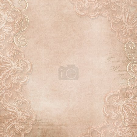 Photo for Vintage gorgeous background with lace and pearls - Royalty Free Image